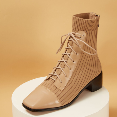 Nude Knit Leather Square Toe Lace-up Back Zip Ankle boots