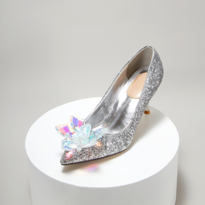 Ladies Glitter Crystal Embellished High Heel Sparkly Pumps for Wedding