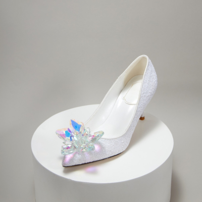 White Ladies Glitter Crystal Embellished High Heel Sparkly Sequined Pumps