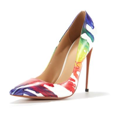 Multicolor Ladies Scrawl Pumps Stilettos Pointed Toe Party Shoes Heels 5 inch