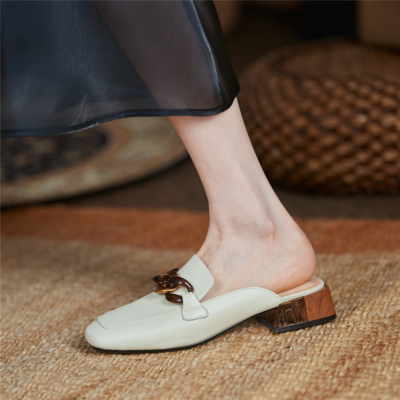 Leather Acrylic Chain Mule Loafer Shoes with Block Low Heels