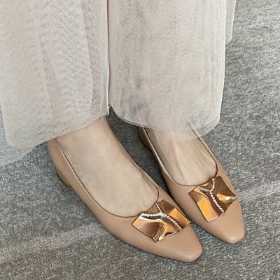 Nude Leather Almond Toe Chunky Heel Women's Pumps
