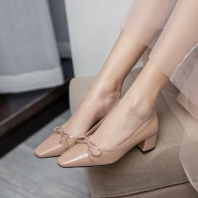 Nude Leather Almond Toe Low Heel Ballet Pumps