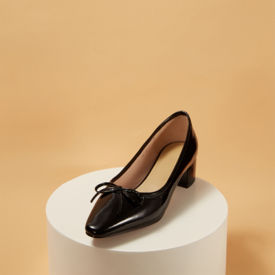 Leather Almond Toe Low Heel Ballet Pumps