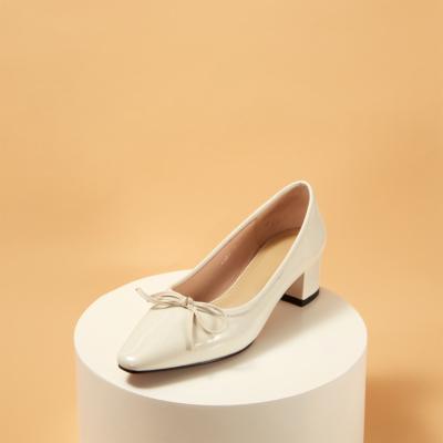 White Leather Almond Toe Low Heel Ballet Pumps