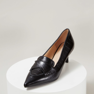 Black Leather Croc Embossed Office Low Heel Pumps
