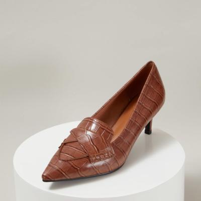 Leather Croc Embossed Office Low Heel Pumps