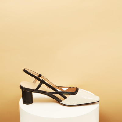 White Leather Croc Printed Pointy Toe Soft Slingback Pumps
