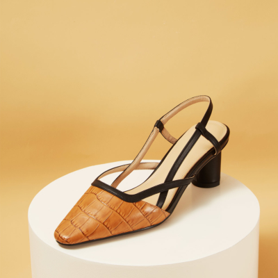 Leather Croc Printed Pointy Toe Soft Slingback Pumps