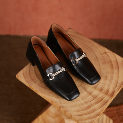 Black Leather Crystal Buckle Block Heel Loafers Spring 2021 Shoes