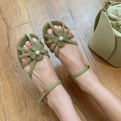 Green Leather Cut-Out Flower Buckle Sandals Shoes with Low Chunky Heels