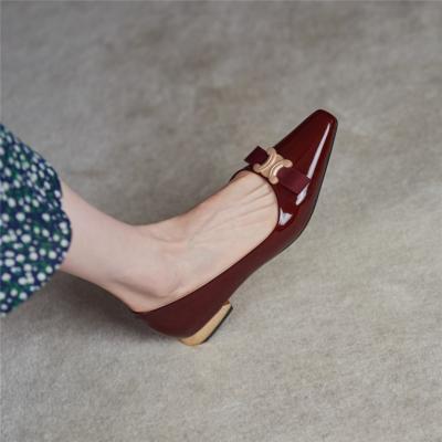 Burgundy Patent Leather Golden Buckle Work Flats Pumps 2021 Comfy Ladies Shoes