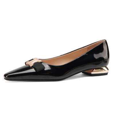 Black Patent Leather Golden Buckle Work Flats Pumps 2021 Comfy Ladies Shoes