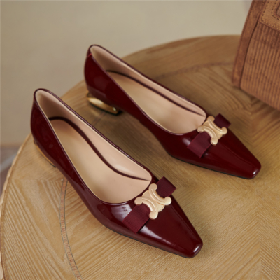 Patent Leather Golden Buckle Work Flats Pumps 2021 Comfy Ladies Shoes