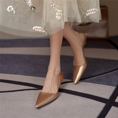 Leather Kitten Heels Office Pumps Spring Pointed Toe Work Shoes