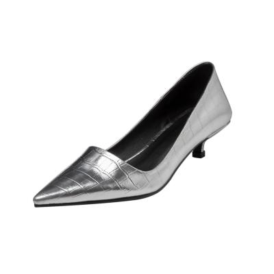 Silver Snake Print Kitten Heels Office Pumps Metallic Pointed Toe Work Shoes