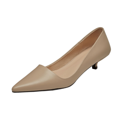 Nude Leather Kitten Heels Office Pumps Spring Pointed Toe Work Shoes