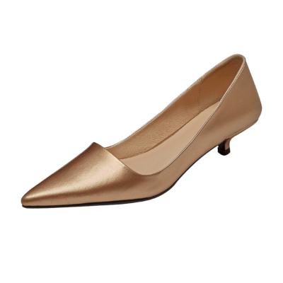 Golden Leather Kitten Heels Office Pumps Metallic Pointed Toe Work Shoes
