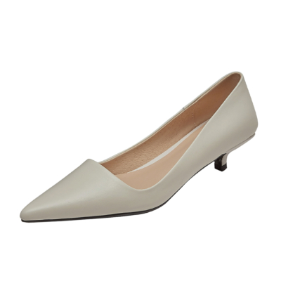 White Leather Kitten Heels Wedding Pumps Spring Pointed Toe Bridal Shoes