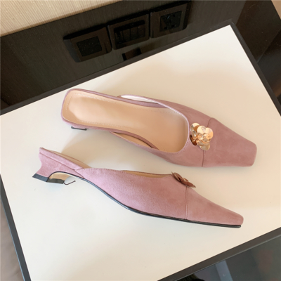 Pink Suede Low Heel Mule Shoes Summer Pumps with Flower Buckle-style2