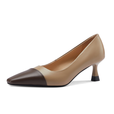 Apricot Leather Office Low Kitten Heels Shoes Work Pumps with Sqaure Toe