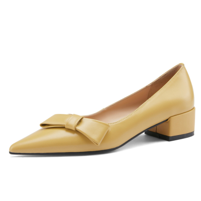Yellow Leather Pointed Toe Shoes Flats 2021 Bow Dress Pumps