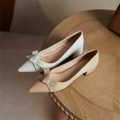 Leather Pointed Toe Shoes Flats 2021 Bow Dress Pumps