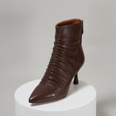 Maroon Leather Ruffled Spool Heel Women Ankle Boots with Back Zipper