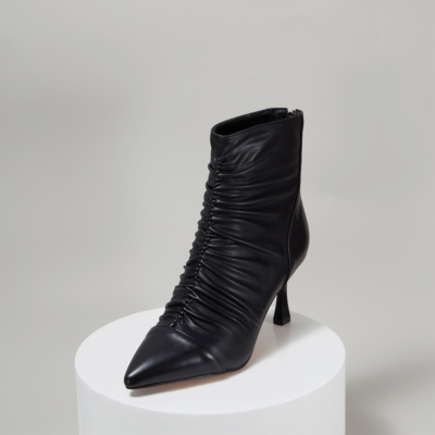 Leather Ruffled Spool Heel Women Ankle Boots with Back Zipper
