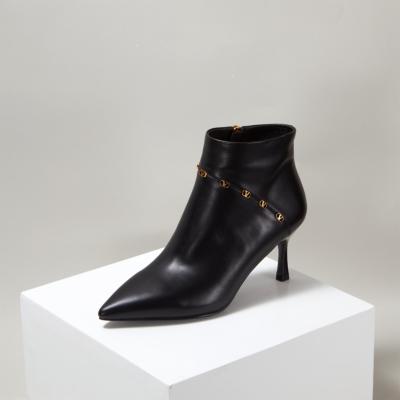Black Leather Spool Heel Side Zipper Stiletto Ankle Boots