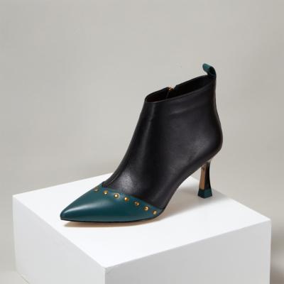 Black Rivest Leather Spool Heel Zipper Office Stiletto Ankle Boots