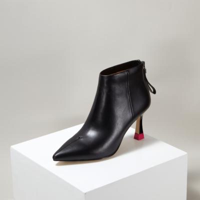 Black Leather Spool Heel Back Zipper Women Stiletto Ankle Boots