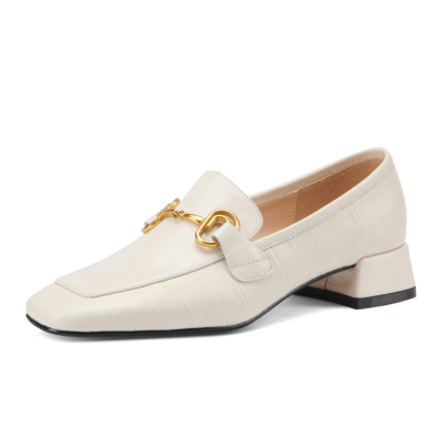 White Leather Sqaure Toe Pumps Croc Effect Horsebit Work Loafers for Women