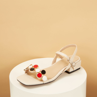 Leather Square Toe Ankle Strap Low Heel Sandals