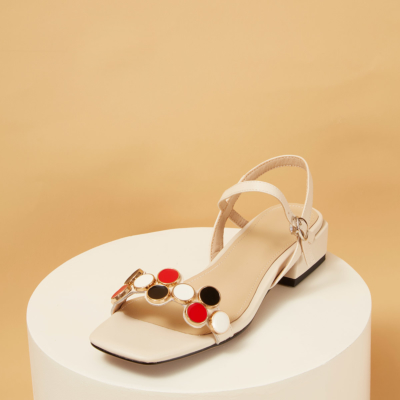 Beige Leather Square Toe Ankle Strap Low Heel Sandals