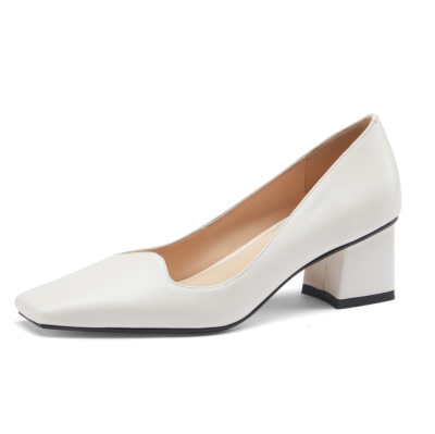 Leather Square Toe Pumps Chunky Low Heels Women Court Shoes For Work