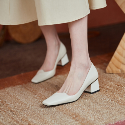 White Leather Square Toe Pumps Chunky Low Heels Women Court Shoes For Work