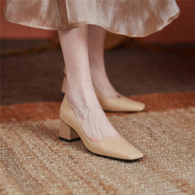 Nude Leather Square Toe Pumps Chunky Low Heels Women Court Shoes For Work