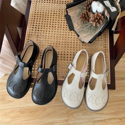 Leather Vintage T-Strap Buckle Mary Jane Flat Shoes