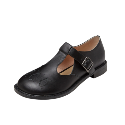 Black Leather Vintage T-Strap Buckle Mary Jane Flat Shoes