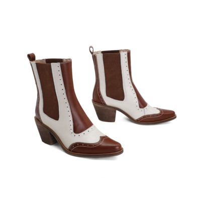 Brown&White Leather Western Boots Color Block Chunky Low Heels Cowgirl Ankle Boots