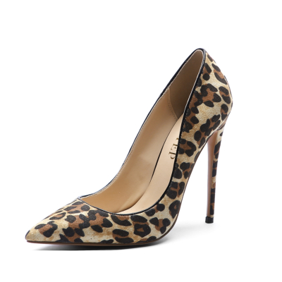 Leopard Patent Leather Print Heel Suede Stiletto Heel Pumps