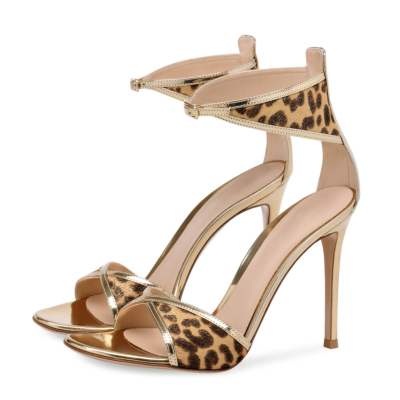Cheetah Print Open Toe Ankle Strap Stilettos Sandals for Party