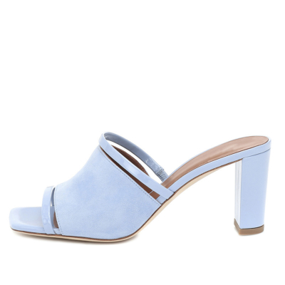 Light Blue Open Toe Block Heels Mule Sandals for 2021 Summer