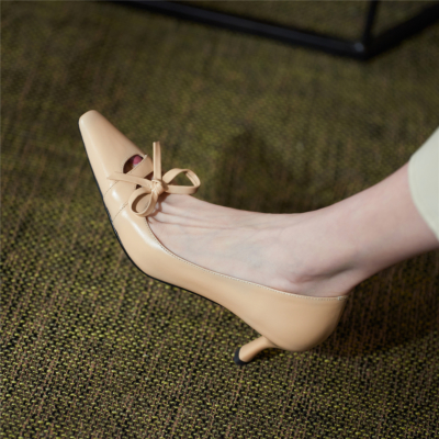 Nude Low Heel Stiletto Leather Pumps Office Pointed Shoes with Bow
