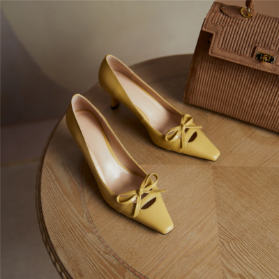 Yellow Low Heel Stiletto Leather Pumps Office Pointed Shoes with Bow