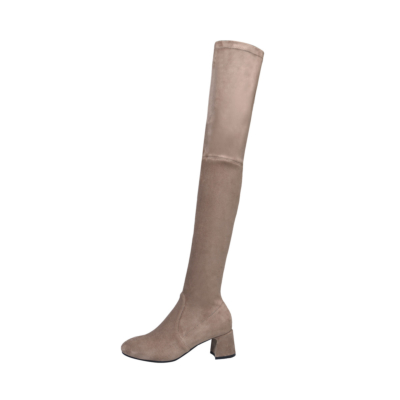 Khaki Suede Low Heel Stretch Over The Knee Boots Pull-on Thigh High Boots