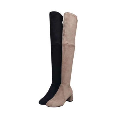 Classic Low Heel Stretch Over The Knee Boots Pull-on Thigh High Boots