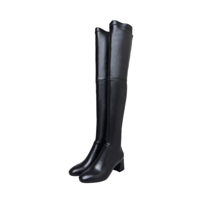 Black Leather Low Heel Stretch Over The Knee Boots Pull-on Thigh High Boots
