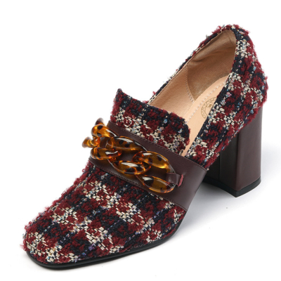 Red Woven&Leather Round Toe Vintage Chunky Heels Pumps